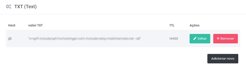 edição do parâmetro txt (text) no hpanel da hostinger