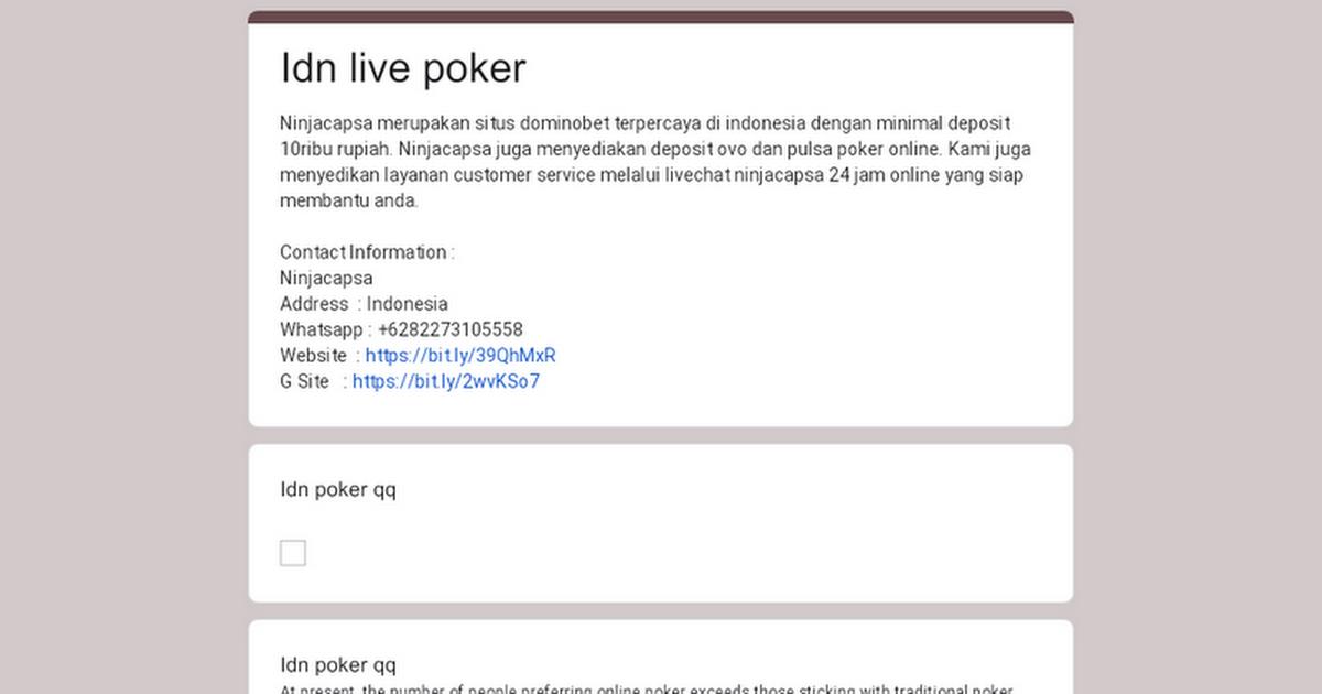 Idn Live Poker