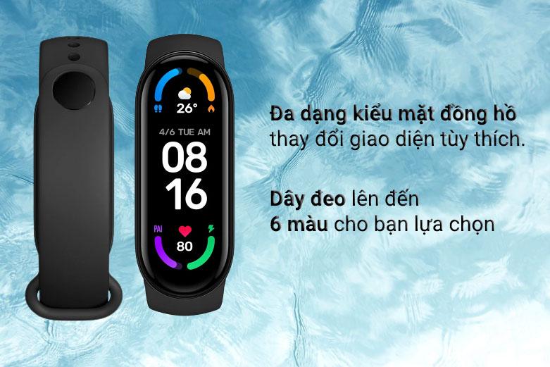 Vòng Đeo Tay Thông Minh Xiaomi Mi Smart Band 6 (Đen)   Đa dnagj kiểu mặt đồng hồ