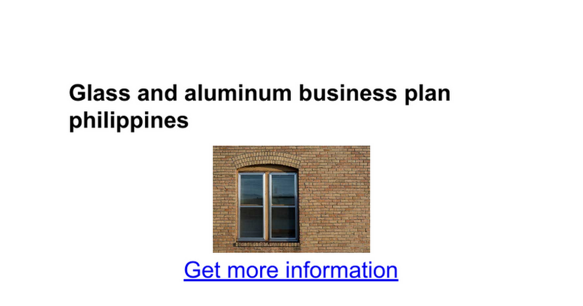 Aluminum company business plan