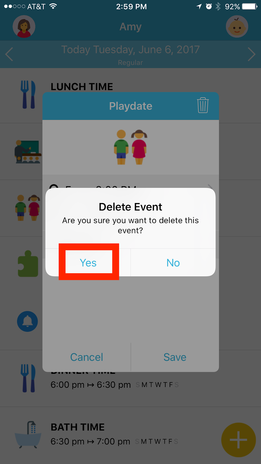 Octopus watch app: validation of the cancellation of an event