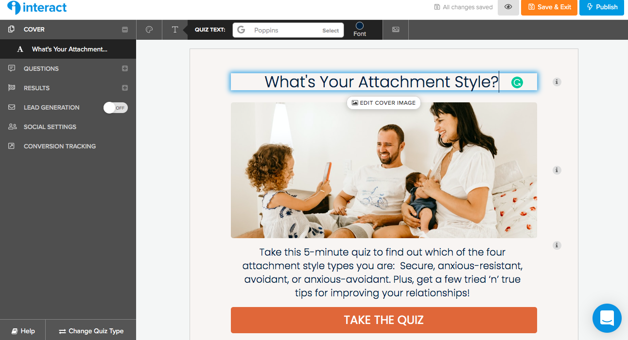How to adjust the title and description for your quiz