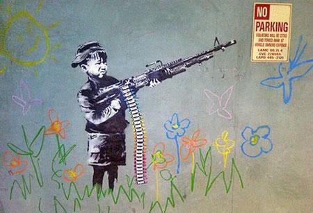 Banksy Child War Soldier Graffiti - Los Angeles, California
