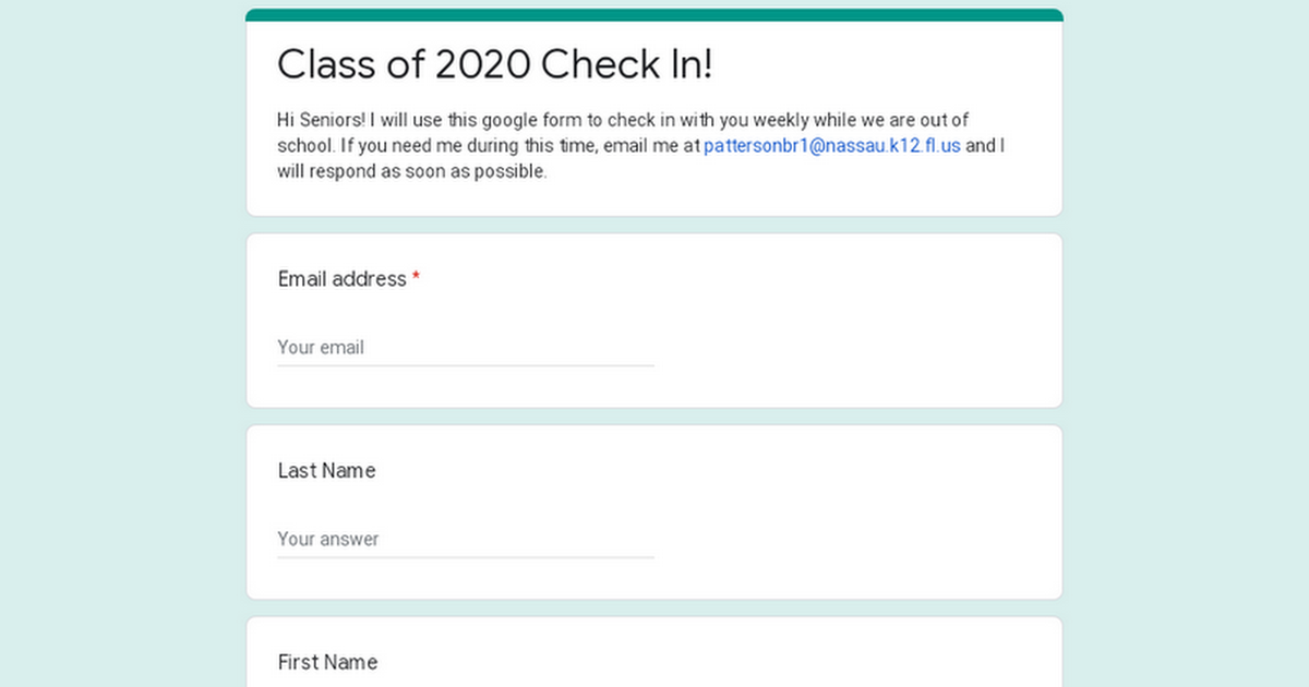 Class of 2020 Check In!