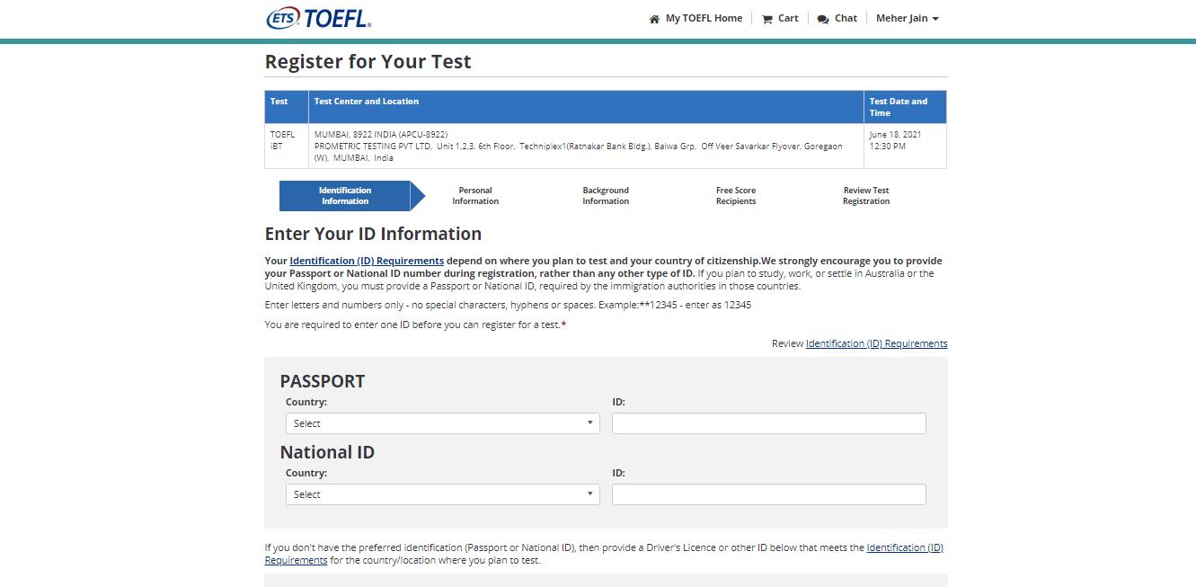 TOEFL Exam Registration Step 4