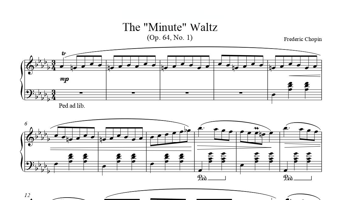 """نت والس ۶ فردریک شوپن Frederic Chopin The """"Minute"""" Waltz"""
