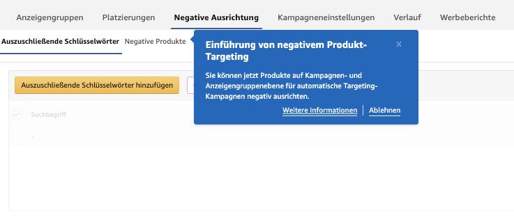 Amazon PPC Negatives Produkt-Targeting
