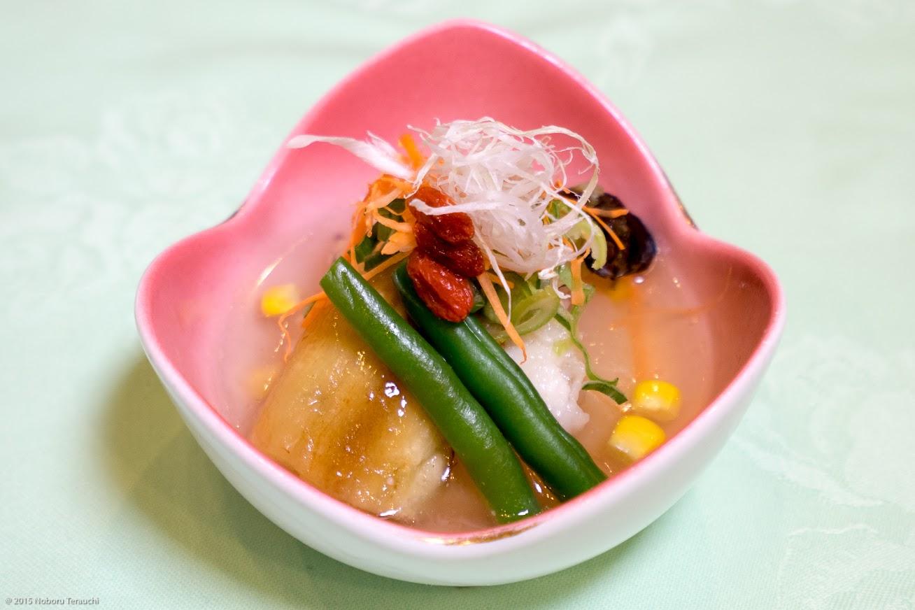 煮物:穴子葛打ち煮、大根白煮、焼き茄子、隠元、玉蜀黍銀餡(とうもろこし)