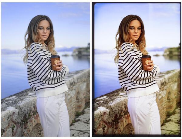 Duas fotos de uma mulher segurando um copo de café. Uma original e a outra com o efeito MON-6