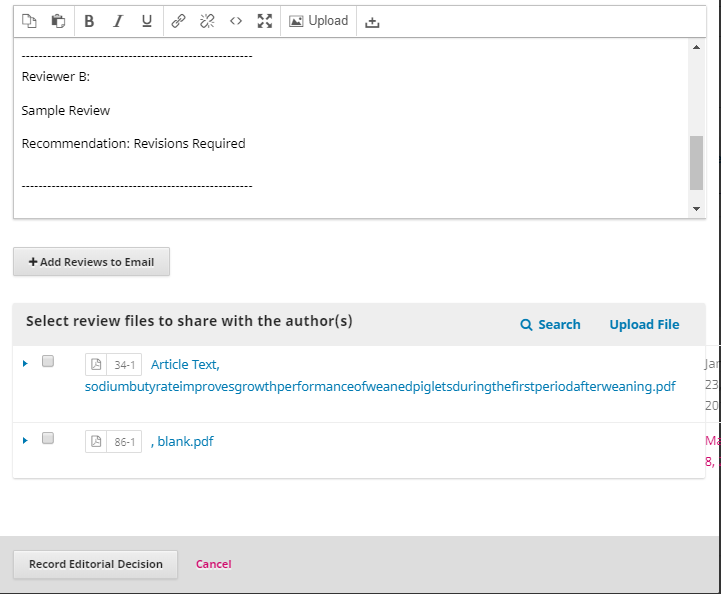 A sample request for revisions with imported comments and options to share files.