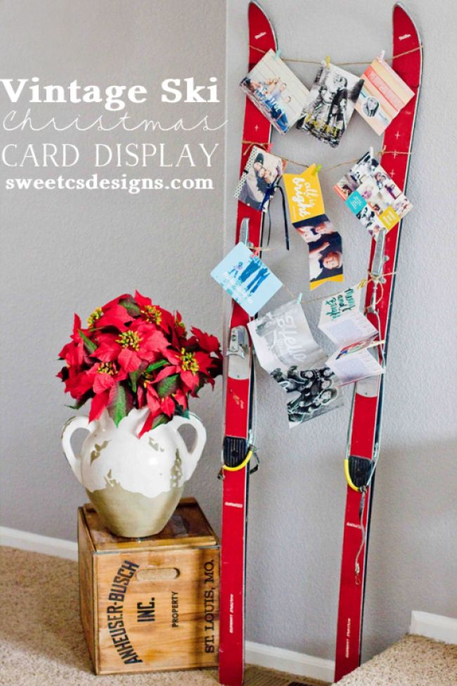 Vintage Ski Card Display: These 25 DIY Christmas Card Holders - That Double As Festive Decor will allow you to beautifuly display your cards and will also give you some great decor.