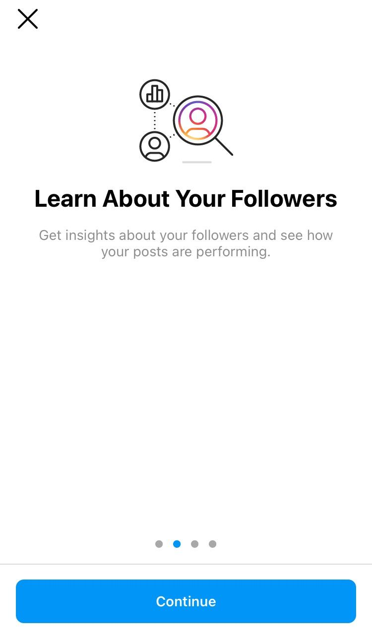 first screen you see for instagram insights when switching to a business account