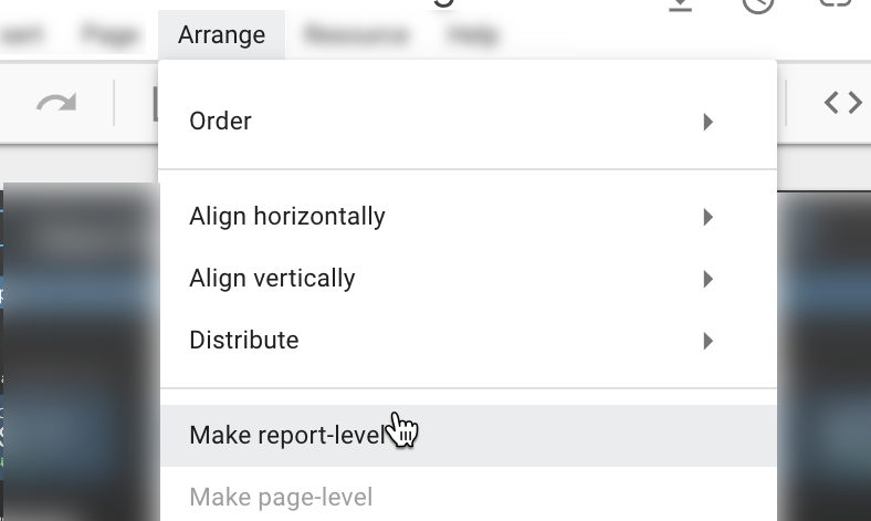 making report-level changes in google data studio.
