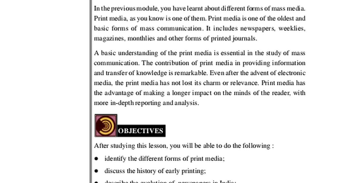 print media an early history
