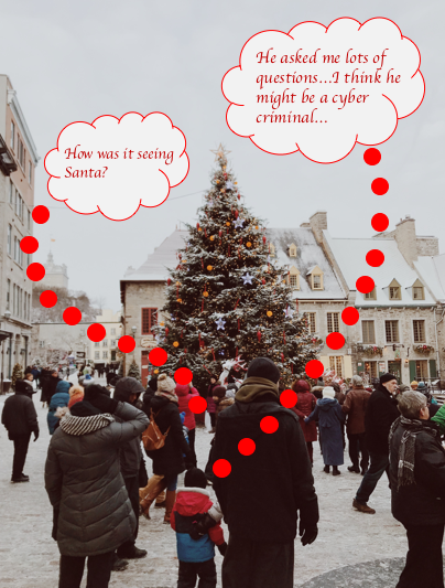 "Busy area of people with a Christmas tree in the centre. A thought bubble coming out of a parent saying ""How was it seeing Santa?"". Another thought bubble coming out of the child next to the parent saying ""He asked me lots of questions...I think he might be a cyber criminal...""."