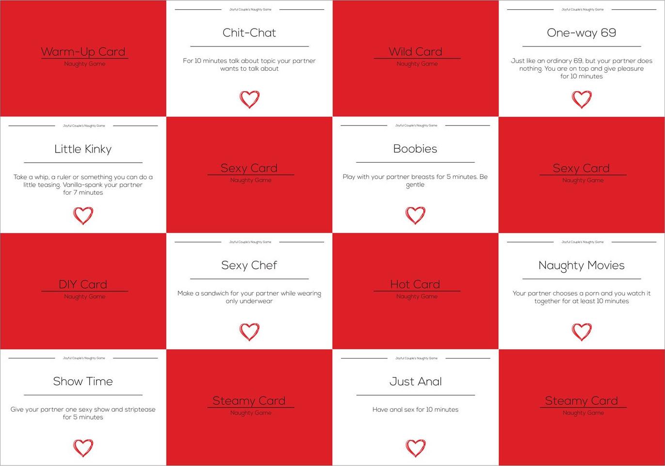 Joyful Couple Naughty Game example cards.