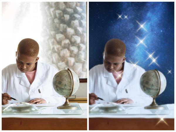 Montagem com 2 fotos da mesma mulher trabalhando mostrando o antes e depois da edição.