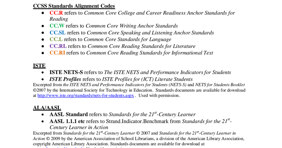 common core standards performance indicators