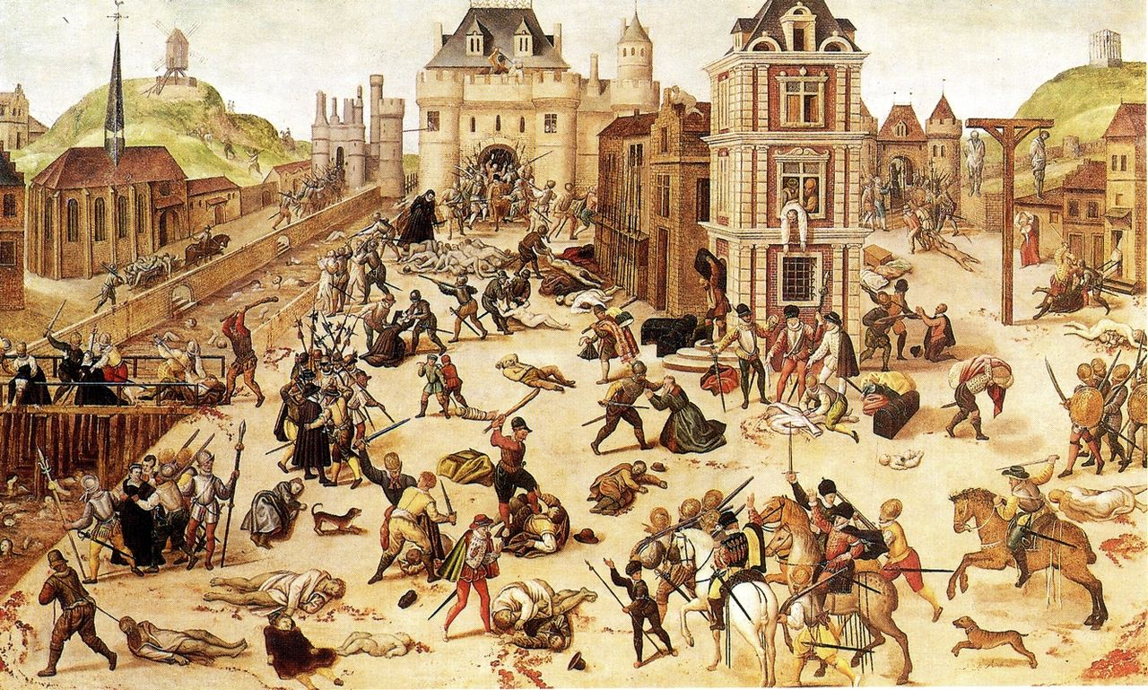 Painting of the massacre, with bodies hacked to pieces and strewn around the streets of Paris.
