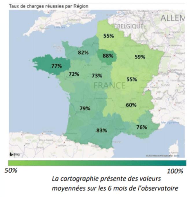 Taux de charges réussies par région (France)