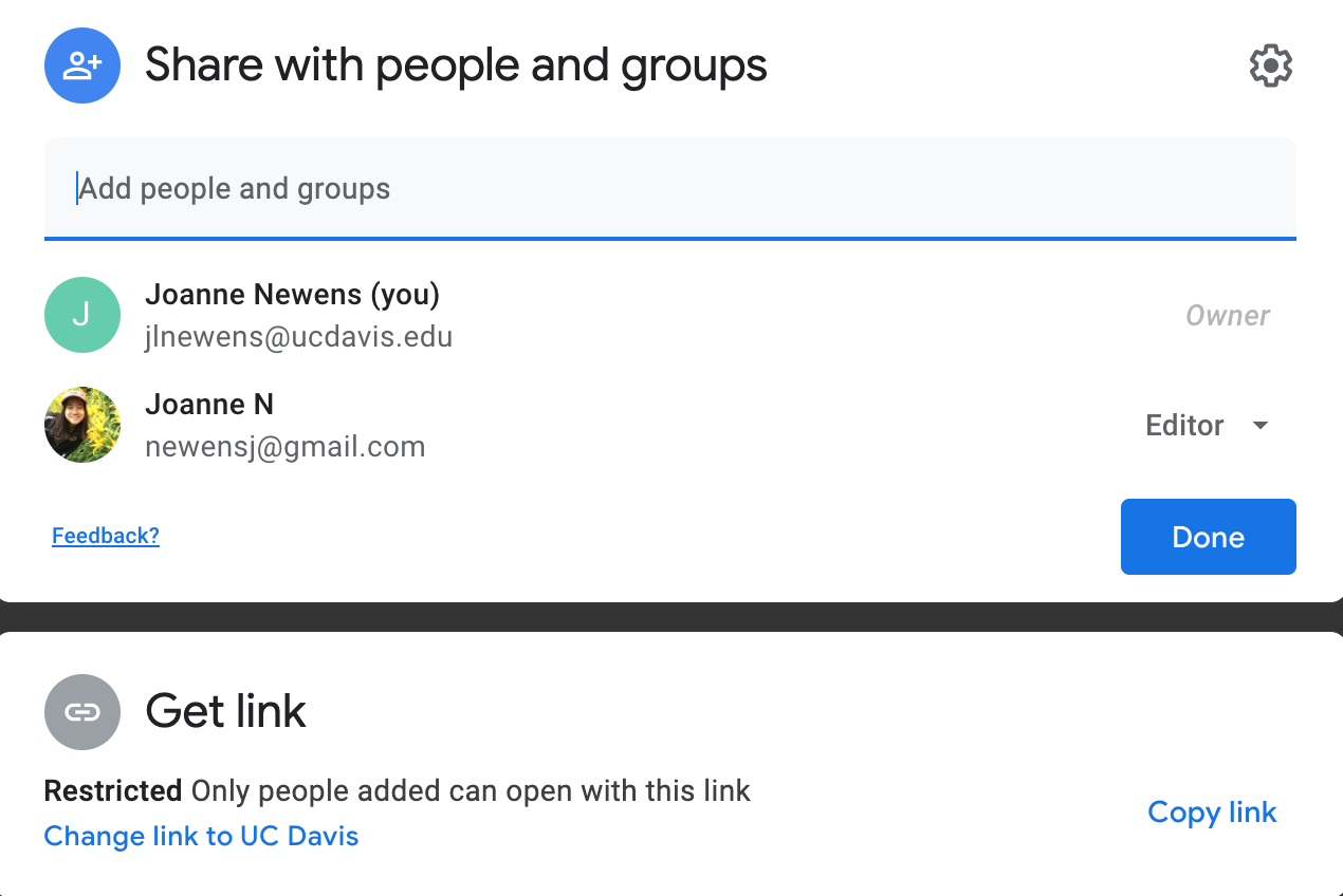 Google Docs Share box showing who is added to the document as editors