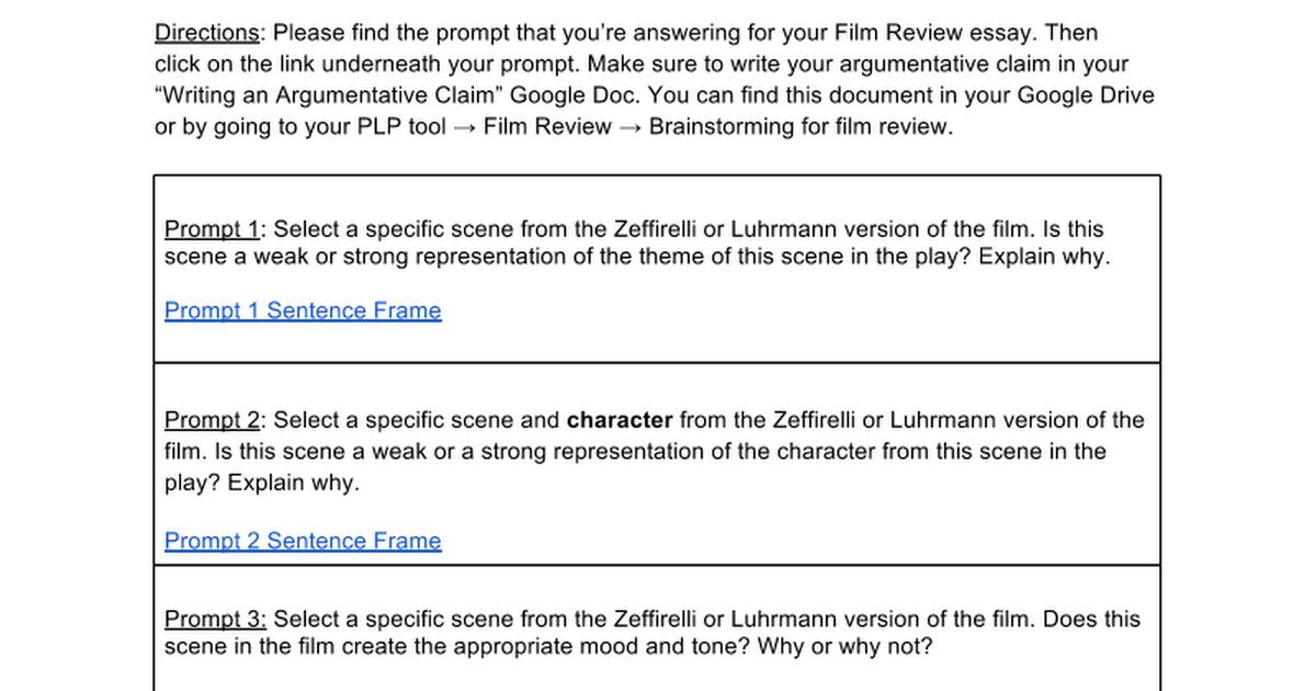 Sentence Frames for Argumentative Claim- Film Review Essay - Google Docs