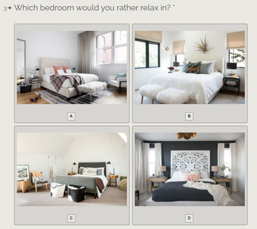 which bedroom would you rather relax in quiz question with answer choices