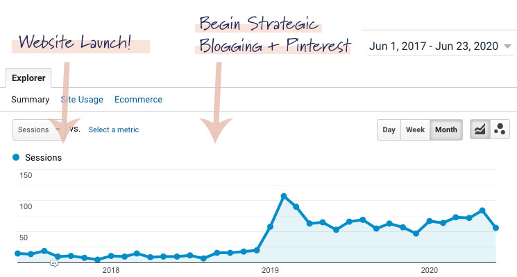 Google Analytics report showing a client's traffic to their website specifically from Pinterest.