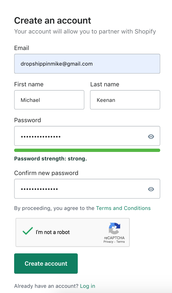 Create an account with Shopify Partner Program