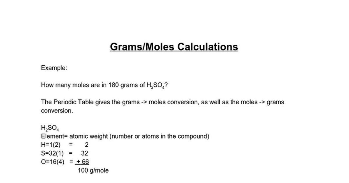 Gramsmoles Calculations Google Docs