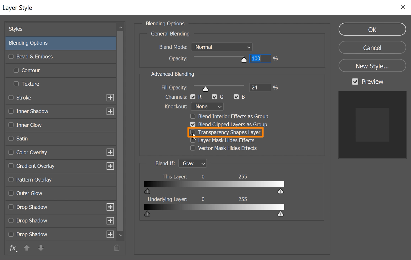 Under Advanced Blending, check the box for Transparency Shapes Layer