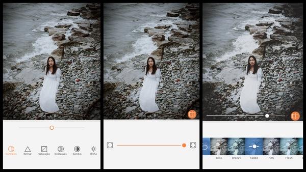 Tutorial de edição de uma mulher usando um vestido branco com o mar de fundo usando as ferramentas do AirBrush