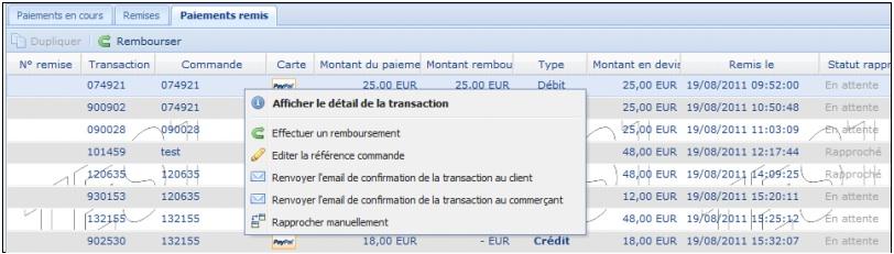 Ensemble des actions possibles concernant un paiement PayPal™ avec Payzen