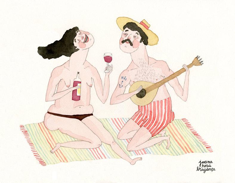 Portuguese Bathers // wine & guitar by  Joana Rosa Braganca