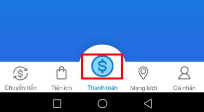 Chọn thanh toán trong giao diện của ứng dụng Moca.
