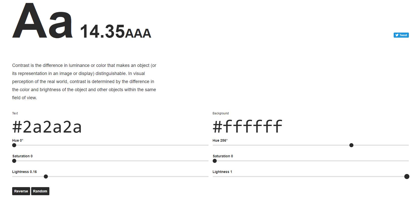 Подбор контрастности между текстом и фоном с помощью Colorable