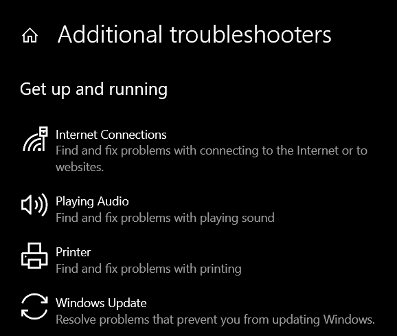 select the Windows Update option