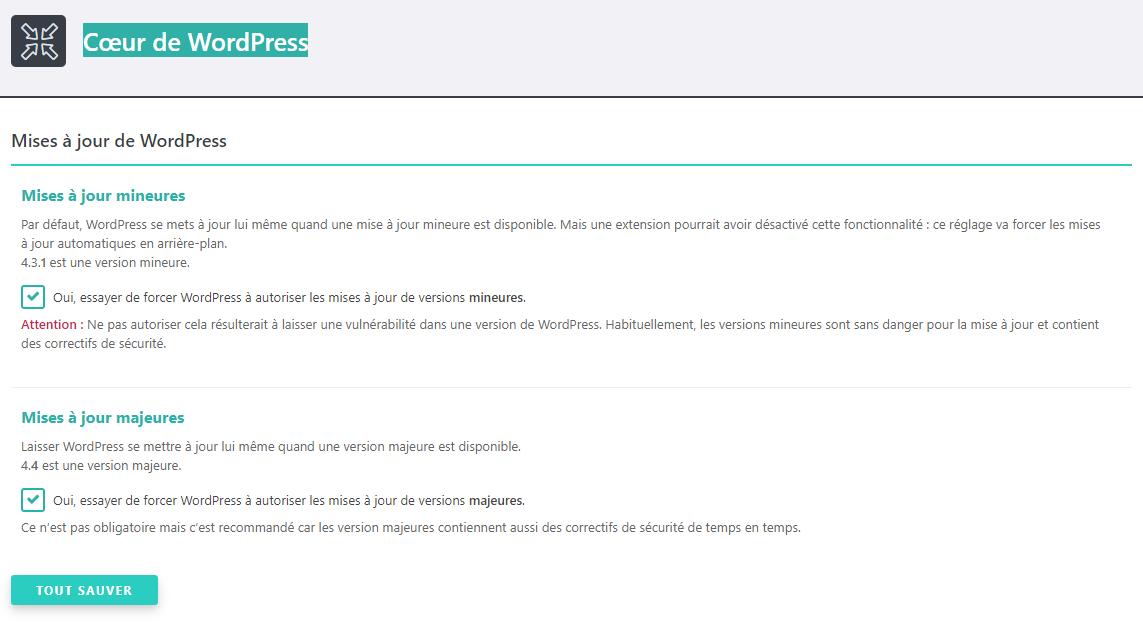 Mises à jour de WordPress SecuPress