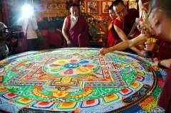 Closing the Hevajra empowerment mandala, HH Dagchen Rinpoche at Tharlam Monastery, Boudha, Kathmandu, Nepal