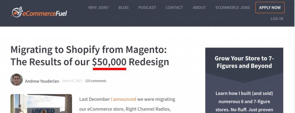 Umzug von Magento 1 zu Shopify verursacht Kosten