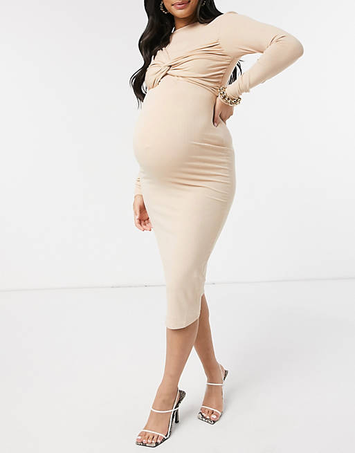 Mother Bee Maternity Cold Shoulder Body-Con Floral Dress