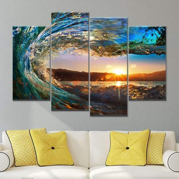 Great Wave Multi Panel Canvas Wall Art