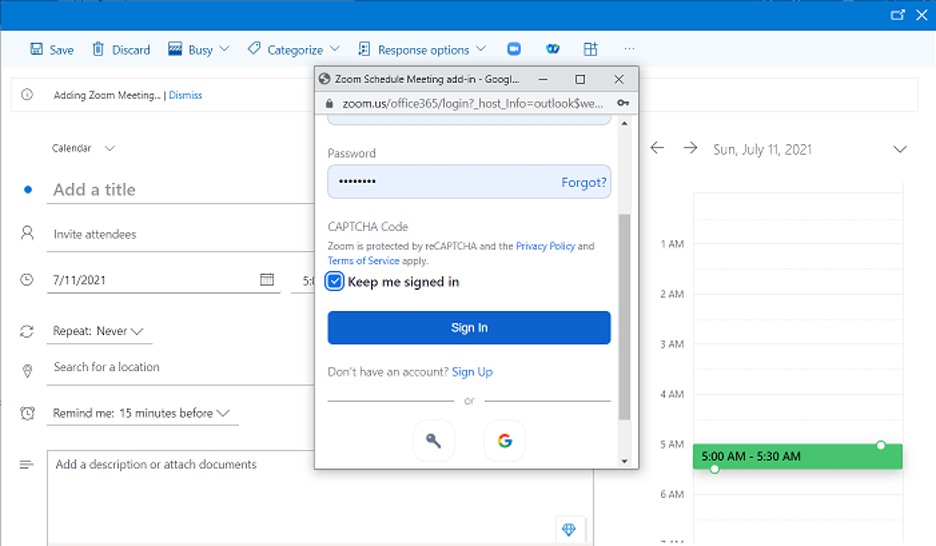 Zoom schedule meeting add-in for Outlook