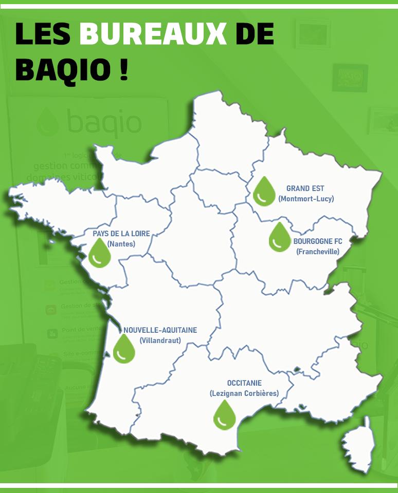 Carte des bureaux de Baqio en France