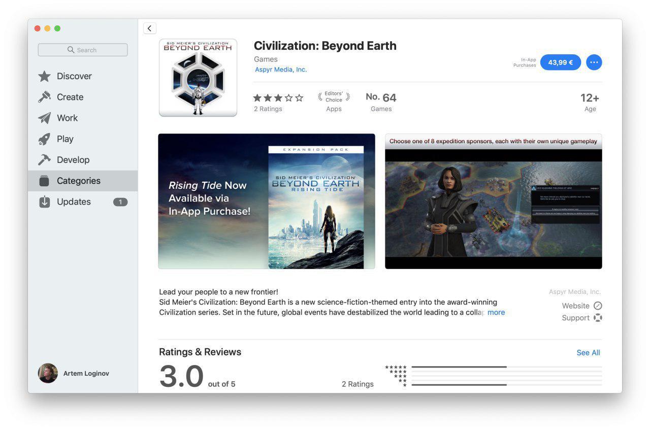 Страница покупки игры Civilization в Mac App Store