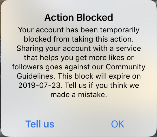 Instagram gives users two clear actions that go along with the message above them