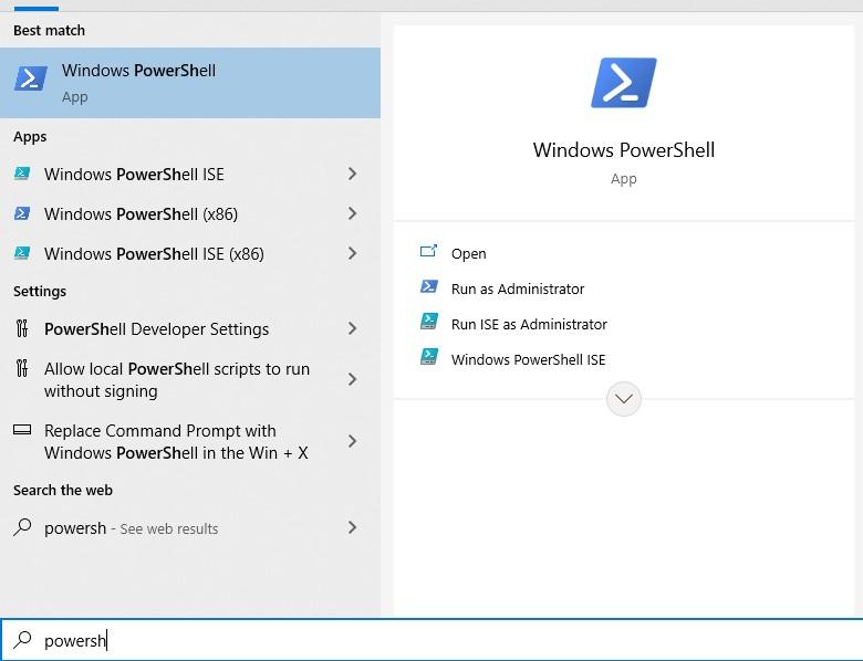 select and click the Windows icon in the lower-left corner and type PowerShell.