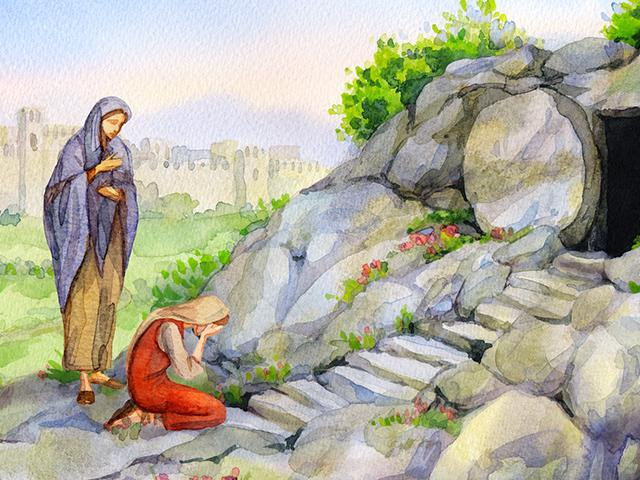 Mary Magdalene kneeling at the open tomb with the gardener