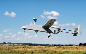 An updated model of the Searcher tactical unmanned aerial vehicle licensed to Russia to manufacture the 'Forpost' drones used in Syria for surveillance, reconnaissance and target acquisition