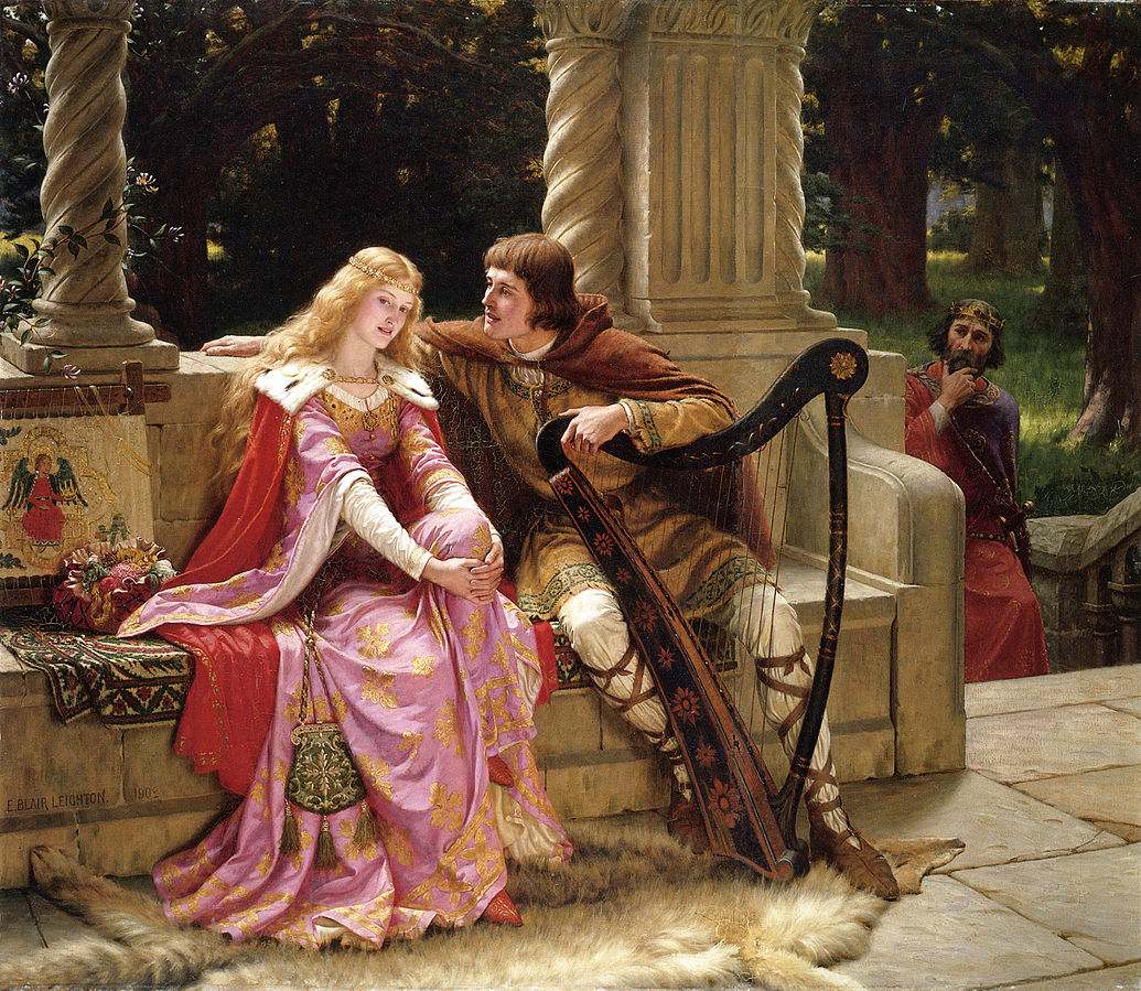 Tristan and Isolde are caught together by the King's guards. Mythical love stories: Edmund Blair Leighton, Tristan and Isolde, 1902, private collection.